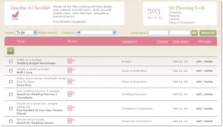 Online Wedding Planning Checklist & Timeline
