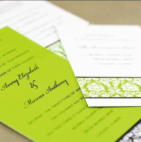 Banded Demask Wedding Invitations In Lime Green Black And White