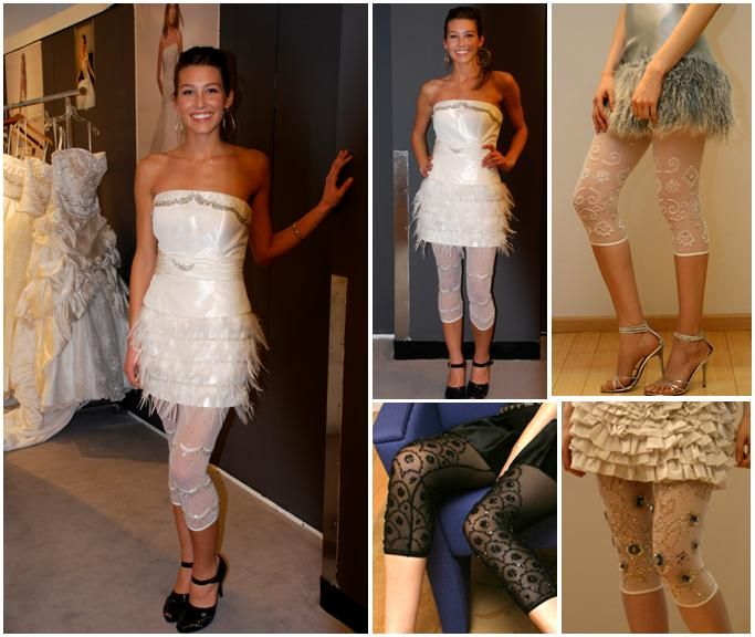Add some sass to your cocktail dress with white, black and nude beaded leggings