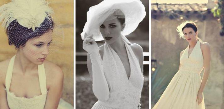 Beautiful birdcage veil and halter style white wedding dress