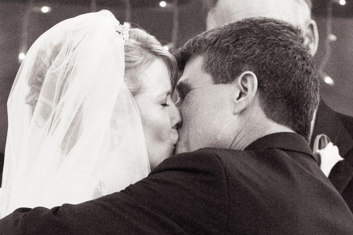 A bride, a groom, and a perfect kiss