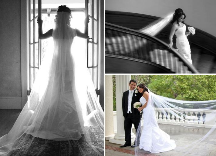 Beautiful bride in white strapless wedding dress and long netted veil