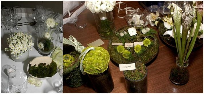 Green and white wedding ideas- white roses and cala lillies, moss and greenery filled the vases