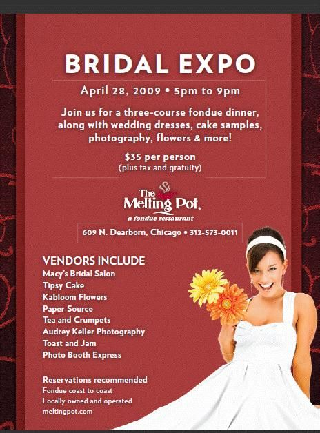 Don't missout on this fabulous bridal show at The Melting Pot, Chicago!