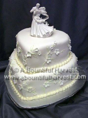 Two hearts white wedding cake
