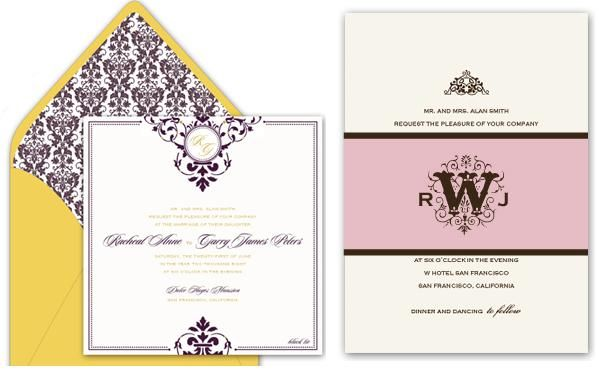 Gorgeous gold and purple letterpress wedding invitations chocolate brown