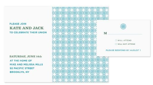 White wedding invitations with blue and aqua pattern