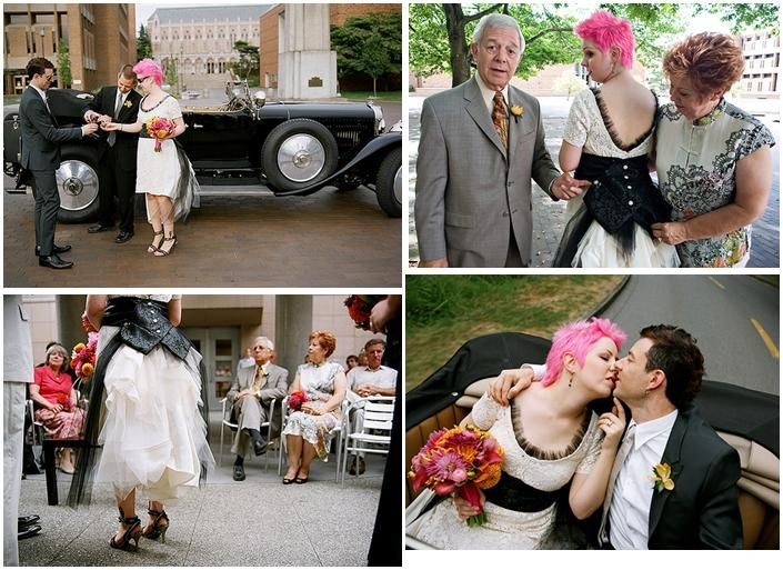 Beautiful edgy bride poses with mom and dad, and kisses new husband