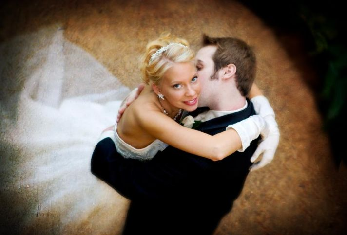 Bride and groom in a wedding whirl