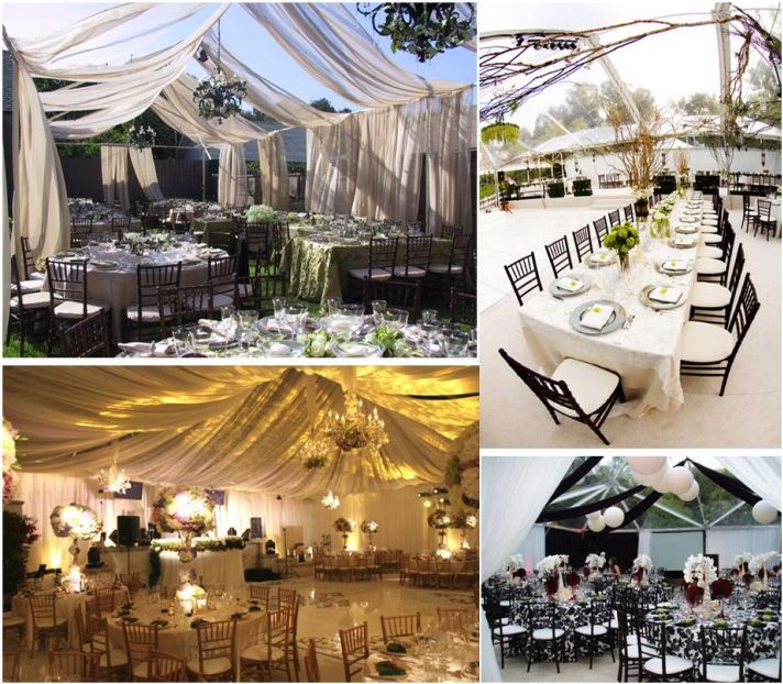 Start with a tent, and transform your backyard wedding into whatever