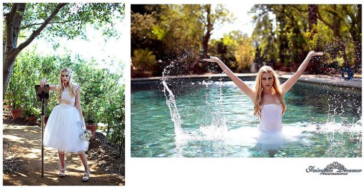 Whimsical bride in short, tulle-skirt wedding dress becomes one with nature; poses in pool