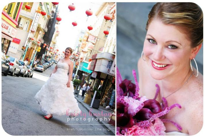 Beautiful bride in strapless dress with full, puffy skirt poses in a Chinatown street