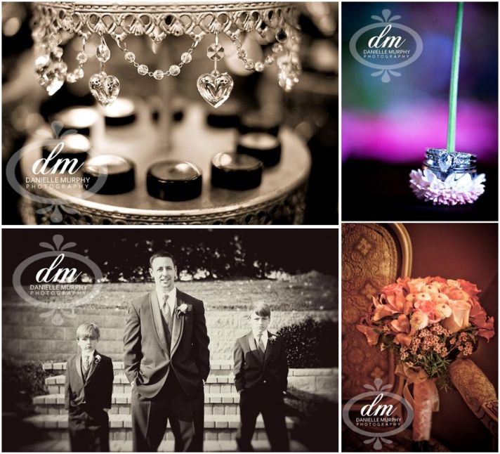Groom stands with ring bearer; diamond engagement ring sites on purple flower
