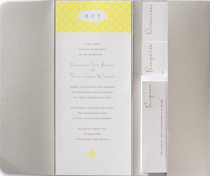 Soft grey, white, soft yellow wedding invitation makes a subtle, yet beautiful, statement