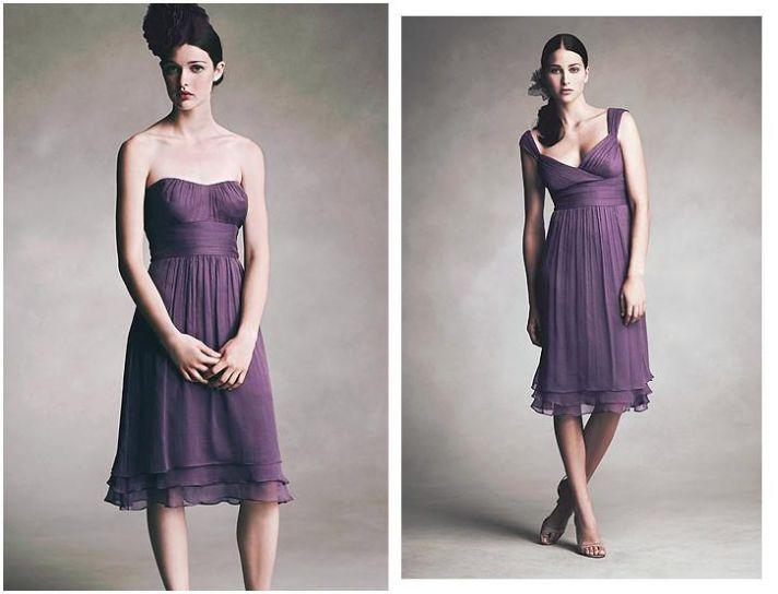 Short strapless dress in violet, ruffle bottom; Empire waist, short dress in violet, charmeuse