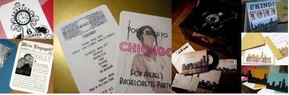 Cute, fun Chicago-themed save-the-dates and wedding invitations