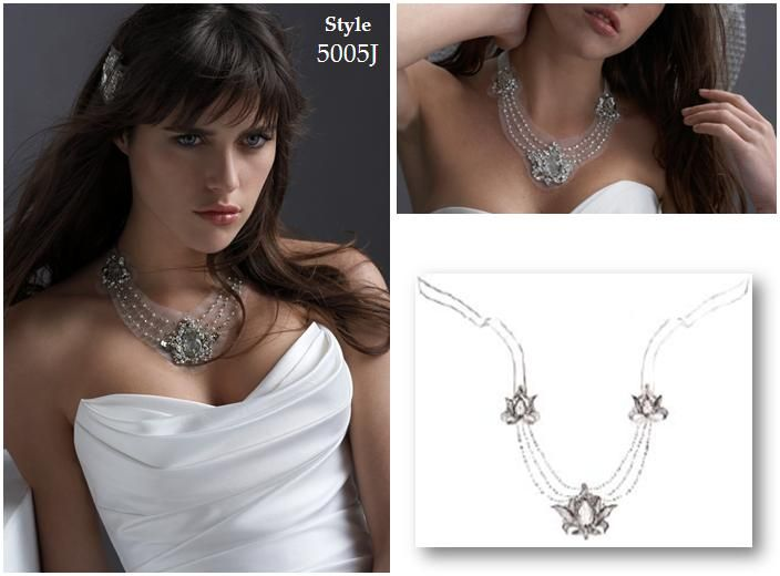 Stunning white, platinum and topaz bridal necklace, three thin pearl strands on white netting