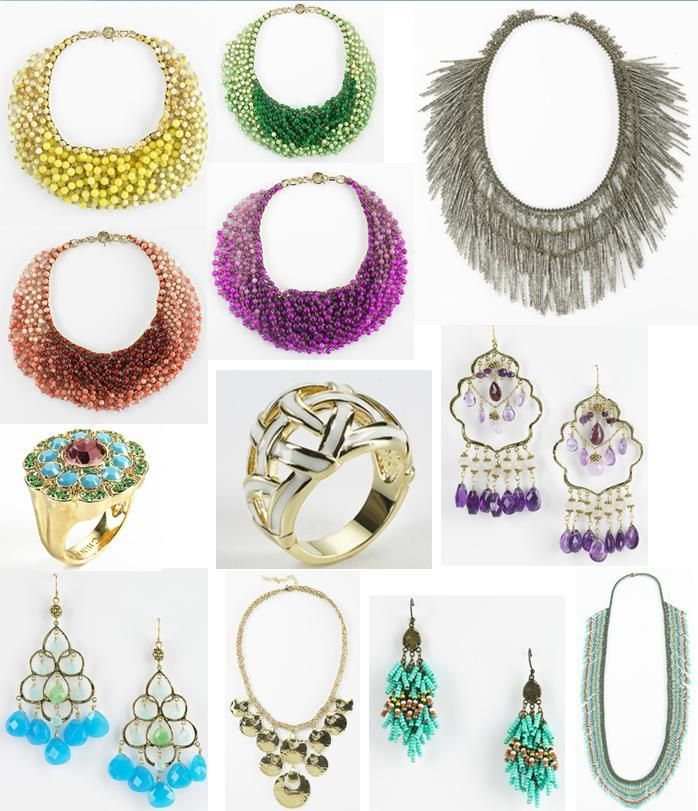 Necklaces, earrings and rings, in vibrant turquoise, citrine, gold, silver, purple, yellow and more!