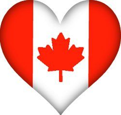 Red and white flag of Canada in heart shape