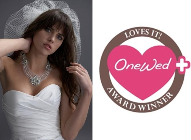 OneWed loves Watters made to order bridal jewlery line- stunning white, silver, pearl wedding neckla