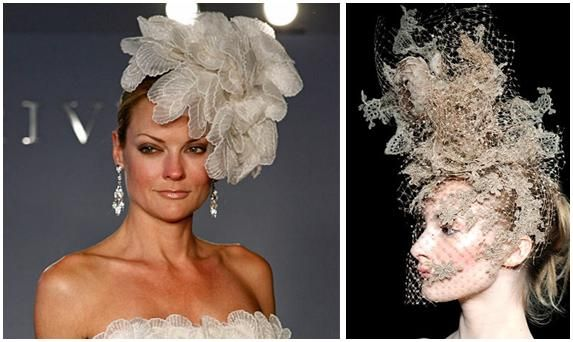 Bridal hairpieces (in off-white and creamy gold) make a statement, especially when incorporated with