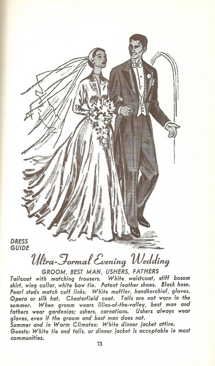 The 1930s style wedding dress looks complete with the long flower bouquet.