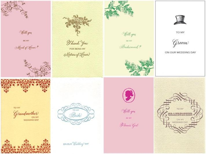 Gorgeous letterpress cards with beautiful hand calligraphy to remember your groom, bridesmaids, maid