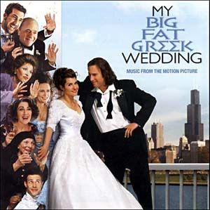 The traditional poufy sleeved, big skirted white wedding dress used in My Big Fat Greek Wedding is n