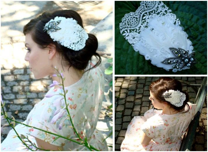 Ivory feather, lace and rhinestone vintage-inspired bridal hair accessory