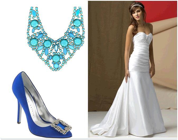 A stunning turquoise bib necklace from Roberta Chiarella, gorgeous royal blue satin pumps, white str