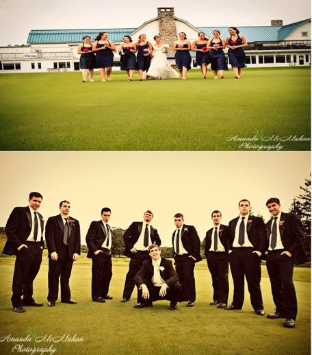 The bridesmaids and groomsmen have fun with the bride and groom after the wedding.