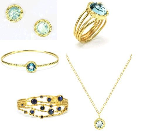 Kevia Jewelry- gold & blue topaz bridal or bridesmaid jewelry