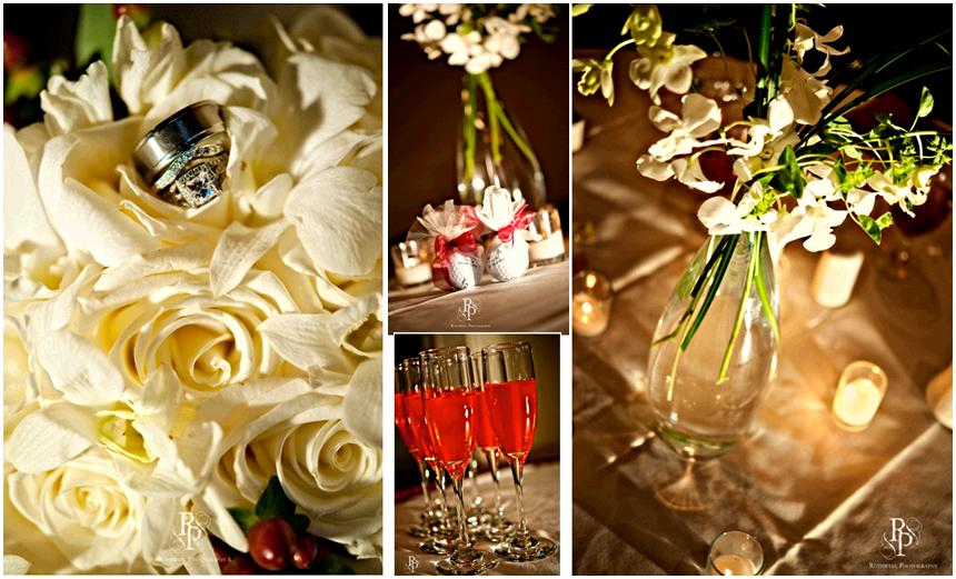 diamond wedding rings on top red signature drinks in champagne flutes