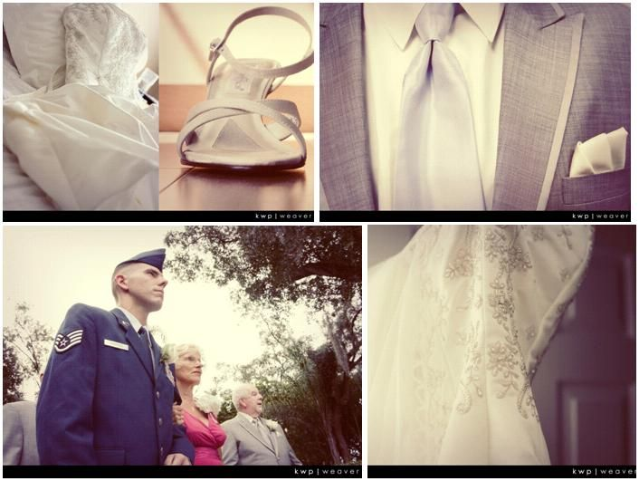 White embroidered Alfred Angelo wedding dress, grey morning suit; military groomsmen