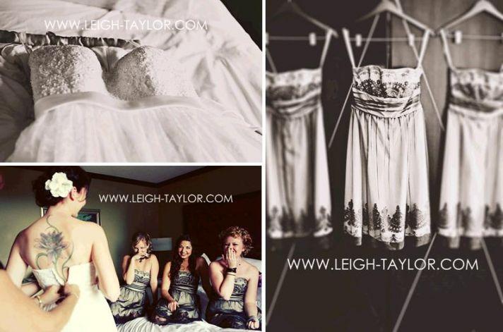 Black and white vintage-feel wedding photos- wedding dress and bridesmaids dresses
