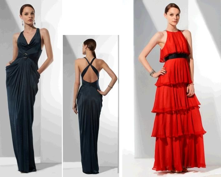 Stunning dark midnight blue low-back evening dress; bright red tiered bridesmaids' dress with black