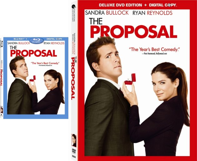 The DVD and Blu-Ray boxes of the movie The Proposal starring Sandra Bullock and Ryan Reynolds.