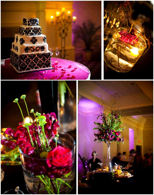 Chic black and white damask wedding cake purple and green high topiaris