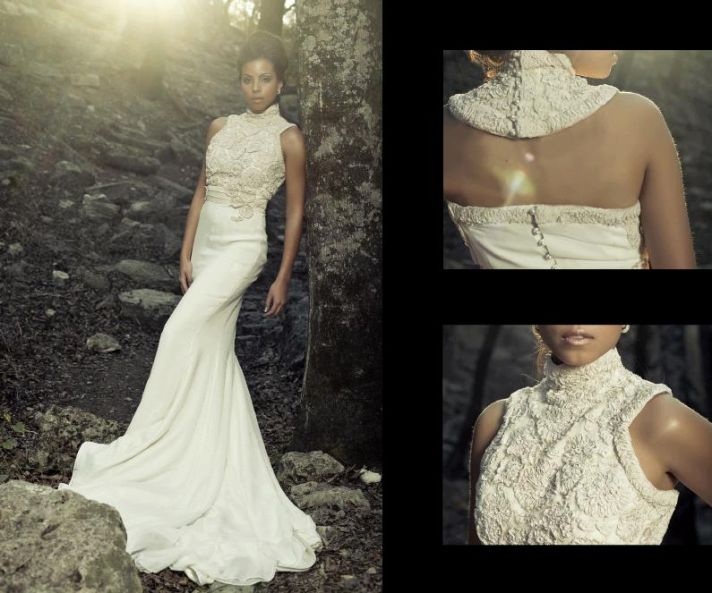 Stunning ivory Beth Elis wedding dress with high, dramatic collar and beautiful pearl buttons