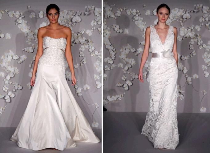 White wedding dresses with alencon lace, ribbon at waist, deep plunging neckline