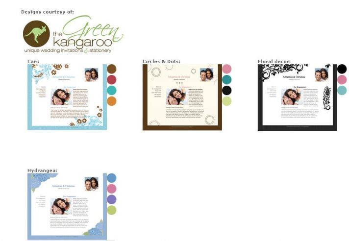 New free wedding website templates from The Green Kangaroo