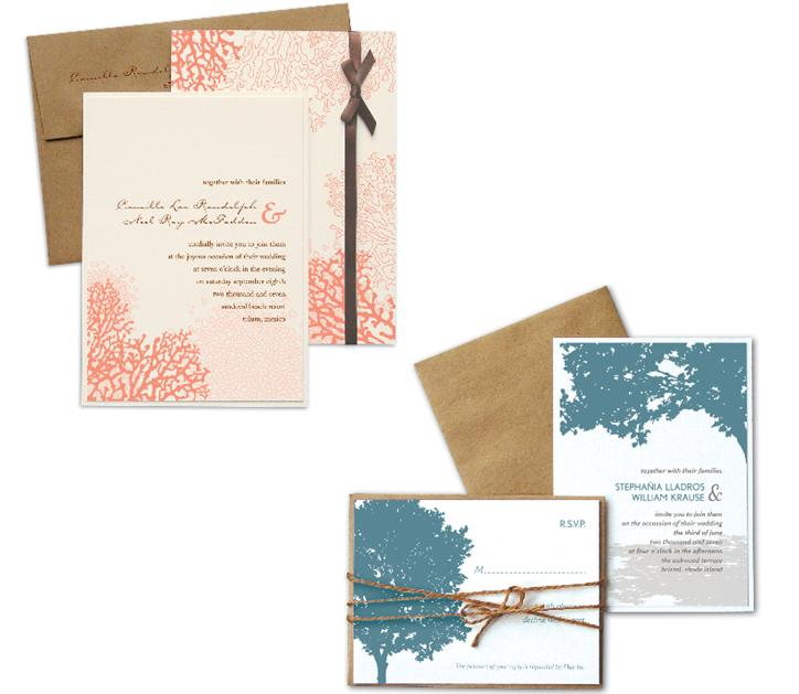 Natural wedding invitation sets bright coral and blue set on white