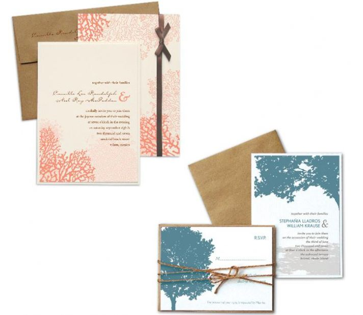 Natural wedding invitation sets- bright coral and blue set on white stationery, natural brown envelo
