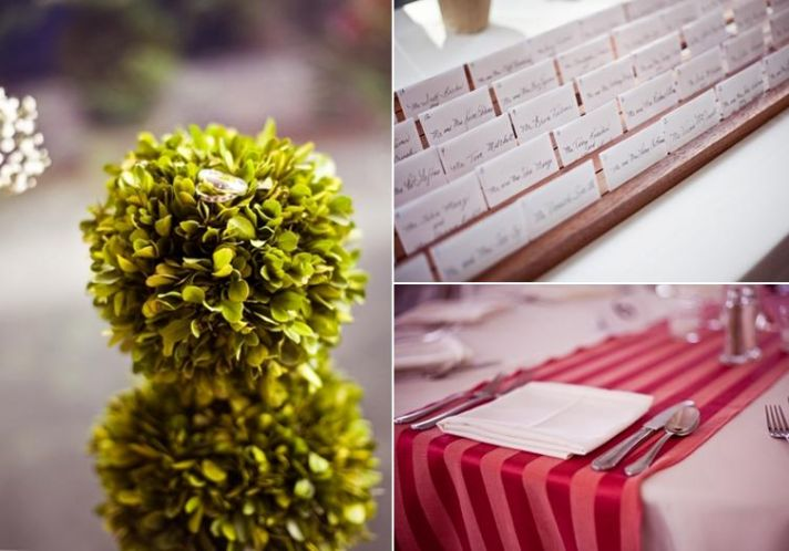 Beautiful diamond and ruby wedding bands sit on green plant; escort card table, and red and white ta