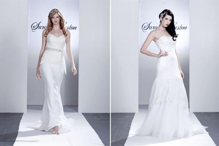 Beautiful white wedding dresses with hints of lace, strapless necklines, and rhinestone ribbon at na