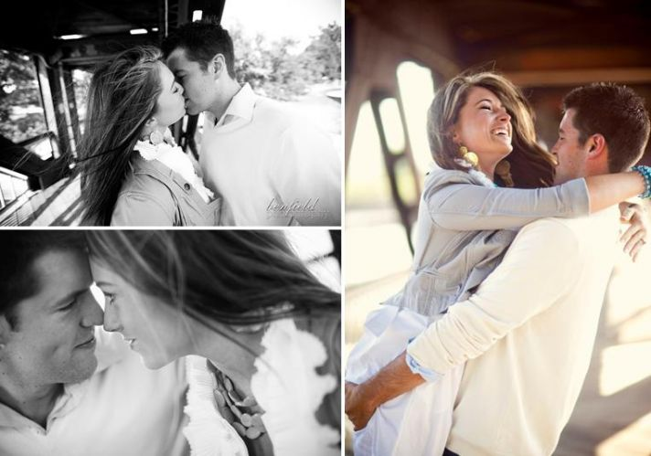 Groom picks up beautiful bride-to-be while playing on the bridge at their engagement session