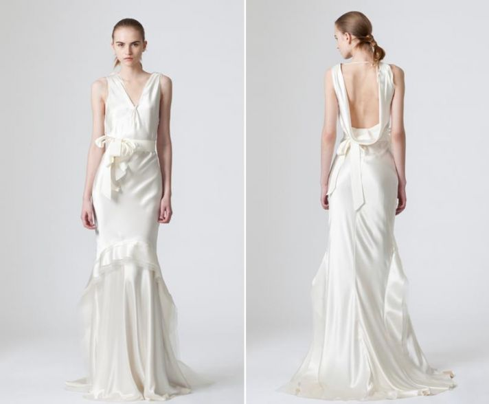 Sleek satin white wedding dress from Vera Wang with low cowl back