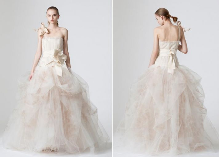 Fairytale wedding dress by Vera Wang with full tulle skirt and assymmetrical bows