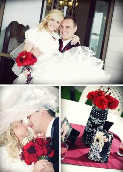 Stunning blonde bride in modest white wedding dress sits on grooms lap, holds dark red rose bridal b