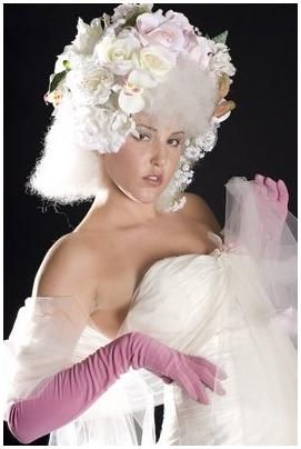 White strapless tulle wedding dress, avant garde light pink and ivory bridal headpiece, long pink gl
